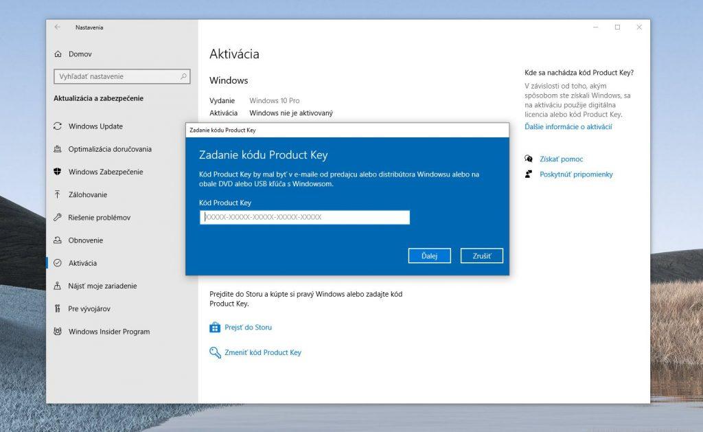 Ako aktivovať Windows 10